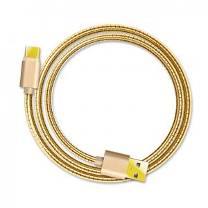 Metal stainless steel spring elastic  type-c usb data cable  usb cord