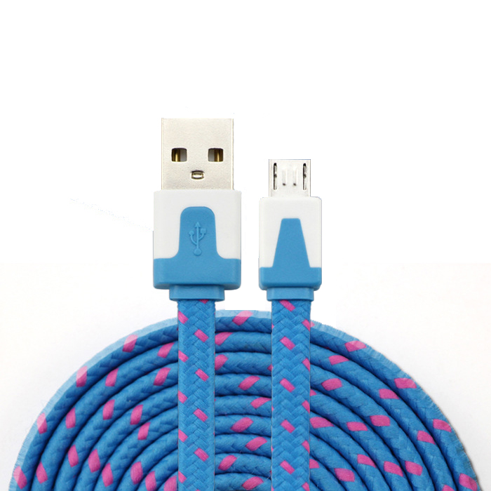 Nylon flat Braided  injection molding plastic cover  Mirco usb cables