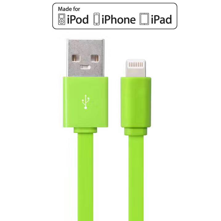 Apple MFI Certified  8 Pin Lightning to USB Charge Sync Cable flat Pvc iphone cord 2