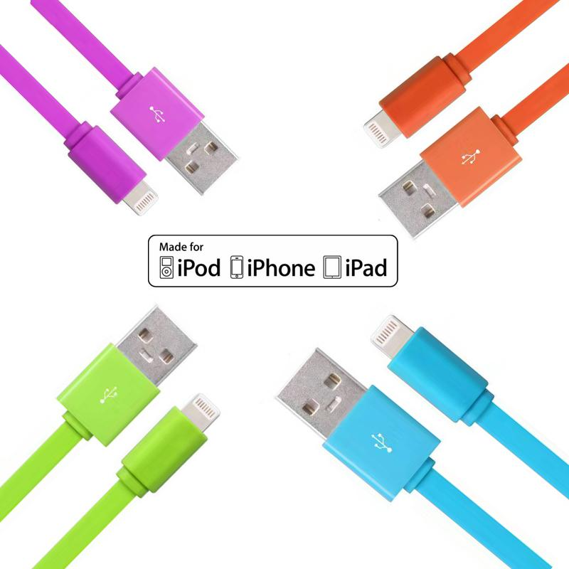 Apple MFI Certified  8 Pin Lightning to USB Charge Sync Cable flat Pvc iphone cord 0