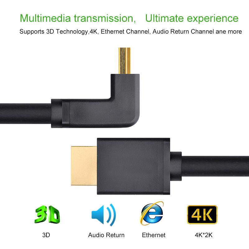 HDMI Cable Angle 90 degree HDMI to HDMI Cable 1m 1.5m 2m 3m 4k HDMI Cable 4K 1080P 3D for PS3 Projector HD Computer Cable 1