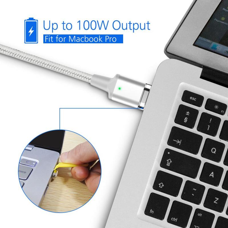 Upgraded Rated Power 100W USB-C to USB-C Charging & Data Sync Magnetic Cable with PD Protocol Compatible with Laptops and Mobile Devices with USB-C Interface 3