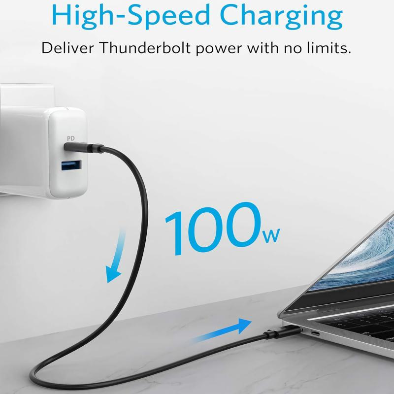 USB C Cable USB 3.1 Gen 2 Full Featured 5A 100W Fast Charging USB Type C to C Cable 10 Gbps with E-Marker for MacBook 12 0